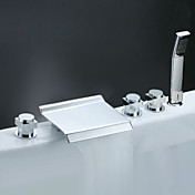 Contemporary Tub Faucet with Stainless Steel Spout + Hand Shower