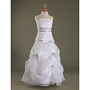 A-line Spaghetti Straps Floor-length Organza Satin Junior Bridesmaid Dress
