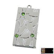 Steering Silver Square with Flower Pattern Jewelry USB Flash Drive - Optional Memory From 2 GB to 16 GB (SMQ4672)