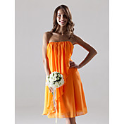 Sheath/Column Strapless Knee-length Chiffon Over Elastic Satin Bridesmaid/Wedding Party Dress