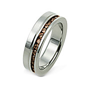 Men's Silver Titanium With Coffee CZ Ring