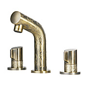 Antique Brass Widespread Bathroom Sink Faucet with Luxury Texture