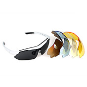 UV400 Sun Glasses Goggle - Bicycle Cycling Sports - 5 lens - White Frame(BC1345061)