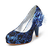 Fabric/ Lace Upper Chunky Heel Pumps With Stitching Lace/ Satin Flower Wedding Bridal Shoes