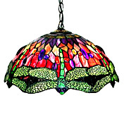 Tiffany Style Dragonfly Stained Glass Pendant Light with 2 lights