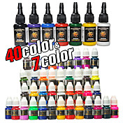 47 flessen van tattoo inkt / 40 * 8 ml en 7 * 15ml