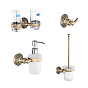 Classic Antique Brass Bathroom Accessory Set With 24 Inch Toilet Paper Holder
