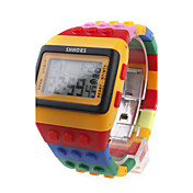 Orologio LED stile Lego, multicolore, con luce notturna - Giallo