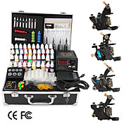 4 gietijzeren tattoo gun kit met lcd power en 40 kleur inkt