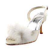 Satin Upper Stiletto Heel Peep Toe With Pompon Wedding Shoes More Colors Available