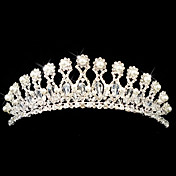 smukke legering med strig rhinestones / imiteret perle bryllup brude tiara