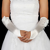 Satin Fingerless Elbow Length With Floral Bridal Gloves