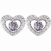 Crystal In Rhinestone Studded Heart Stud Earrings