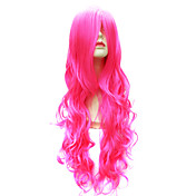 Capless Long Body Wave Synthetic Pink Party Hair Wig