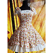 sleevelees al ginocchio in cotone floreale abito paese lolita