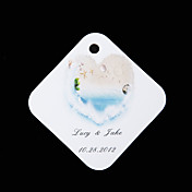 Personalized square tags - Dream of Beach (set of 36)