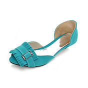 Suede Peep Toe Flats With Buckle And Fringe (More Colors)