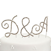 Rhinestone Bride &amp; Groom's Initials Cake Topper