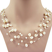 5 Strand 4-8MM White Genuine Pearl Necklace  17-18 Inch