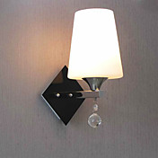 Elegant Crystal Wall Light with White Shade