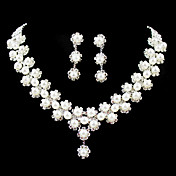 Gorgeous Rhinestone/Imitation Pearl Bridal Jewelry Set – 17 Inch Necklace With Earrings