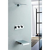Contemporary Chrome Wall Mount Rain Shower Faucet