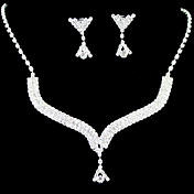 Beautiful Rhinestone Bridal Jewelry Set – 17 Inch Necklace With Earrings