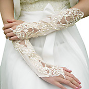 Satin Sequined And Beaded Bridal Gloves (More Colors)