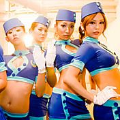 Super Fascinated Blue Polyester Stewardess Uniform (3 Pieces)