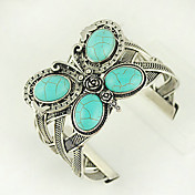Turquoise And Silver Alloy Butterfly Cuff Bracelet