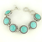 Turquoise And Silver Alloy Circle Charm Toggle Bracelet