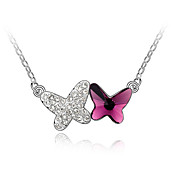 45-cm Double Butterfly Austrian Crystal Necklace
