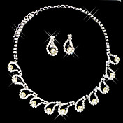 Silver Rhinestone Two Piece Dazzling Embedded-Pearl Ladies' Wedding Jewelry Set(45 cm)