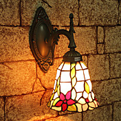 1 - Light Tiffany Wall Light with Floral Patterned Shade