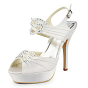 Satin Stiletto Heel Platform With Rhinestone Wedding Shoes (More Colors Available)