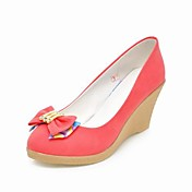 Leatherette Platform Wedge Pumps With Bow (More Colors)