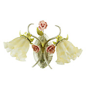 Country Style Wall Light with 2 Lights in Floral Design