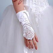 Satin Bridal Fingerless Wrist Length Gloves With Sequins (More Colors)