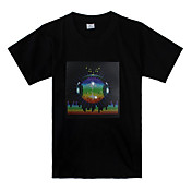 Sound and Music Activated Earth Pattern LED T-shirt (3 x AAA Batteries)