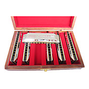 Huang - (103X) Silver Hamonica 6 Keys Pack/10 Holes/20 Tones