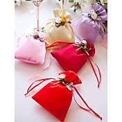 Satin Favor Bag With Flowers And Ribbons – Set of 12 (More Colors)