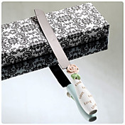 Elegant Rose Design Resin Handle Wedding Cake Knife