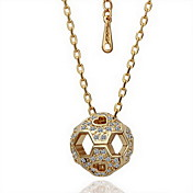 18K Gorgeous Fashion Rhinestone Alloy Hollow Football Necklace (More Colors)