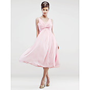 A-line V-neck Knee-length Chiffon Bridesmaid/Wedding Party Dress