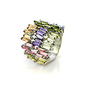 Gorgeous Colourful Cubic Zirconia Platinum Plated Irregular Shape Fashion Ring