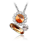 Austrian Crystal With Real Platinum Plated Anti-Allergy Ladies Necklace Romantic Marriage (More Colors)
