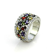 18K Gold Plated & Top Colorful Flower Cubic Zirconia Ladie's Party Ring
