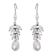 Unique White Platinum Plated With Drops Shape Cubic Zirconia Earrings
