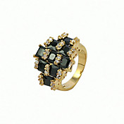 Black Cubic Zirconia Platinum Plated Round Shape With 18K Gold Ring