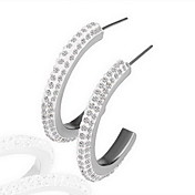 18K Fashion Rhinestone Alloy Huggie Earrings (More Colors)